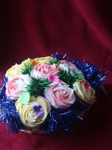 Colorful Roses Cupcake Bouquet