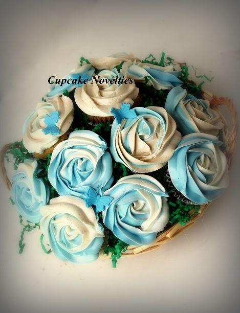 Mother's Day Cupcake Bouquet with vanilla & snickerdoodle cupcakes & white and blue roses & butterflies