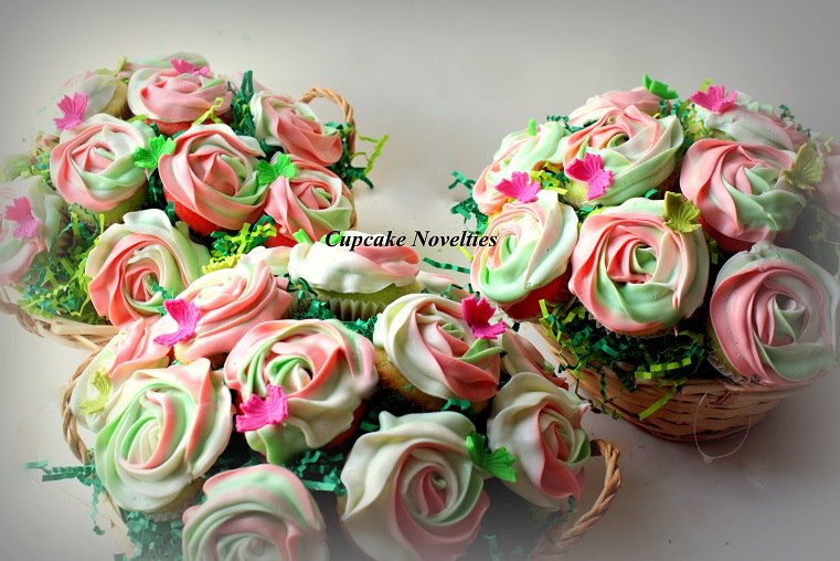 Pink & Green Apple Blossom Cupcakes!