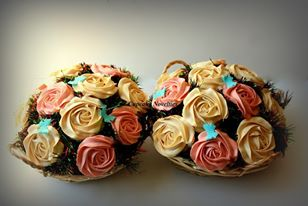 Cupcake Bouquets with Salted Caramel buttercream roses & Strawberry buttercream roses (on chocolate cupcakes)