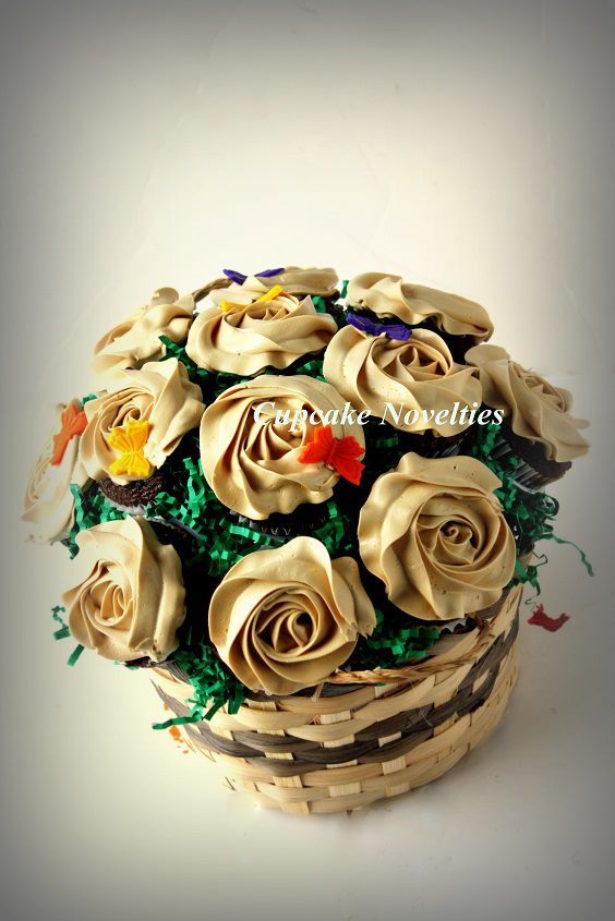 Cupcake Bouquet with Chocolate Mocha cupcakes & Mocha Espresso Buttercream roses and handmade edible butterflies
