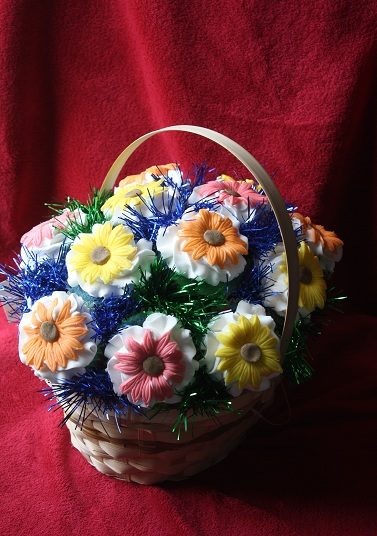 Cupcake Bouquet - Vanilla Tye Dye Cupcakes with French Vanilla Buttercream topped with colorful gerbera daisies