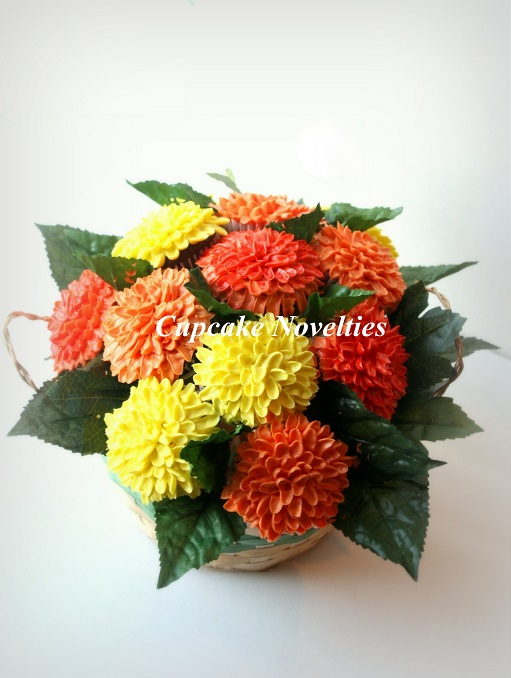 Cupcake Bouquet with Fall-colored Mums
