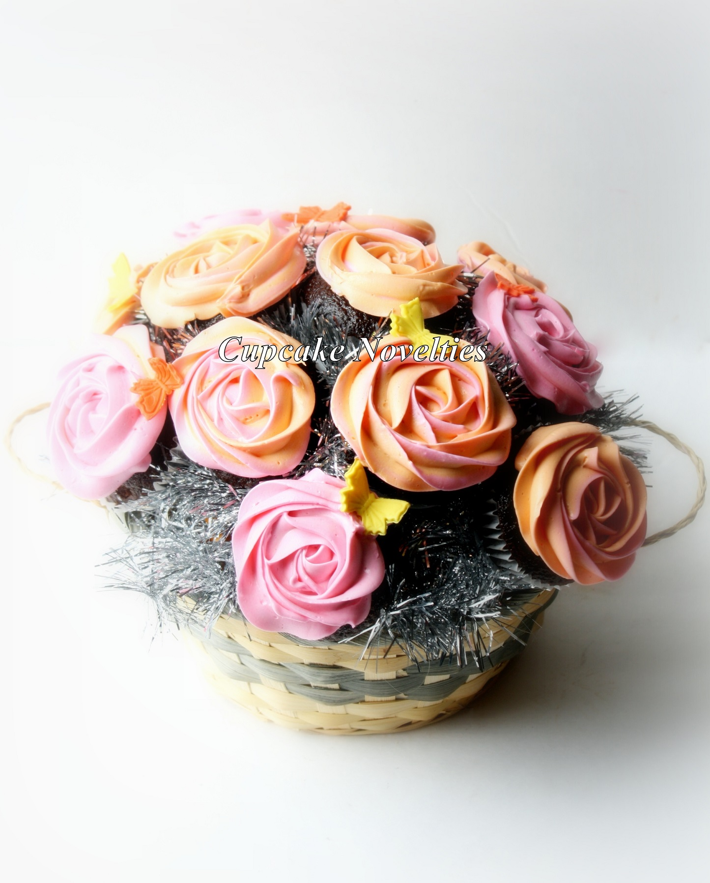 Pink & Orange roses Cupcake Bouquet with handmade edible butterflies
