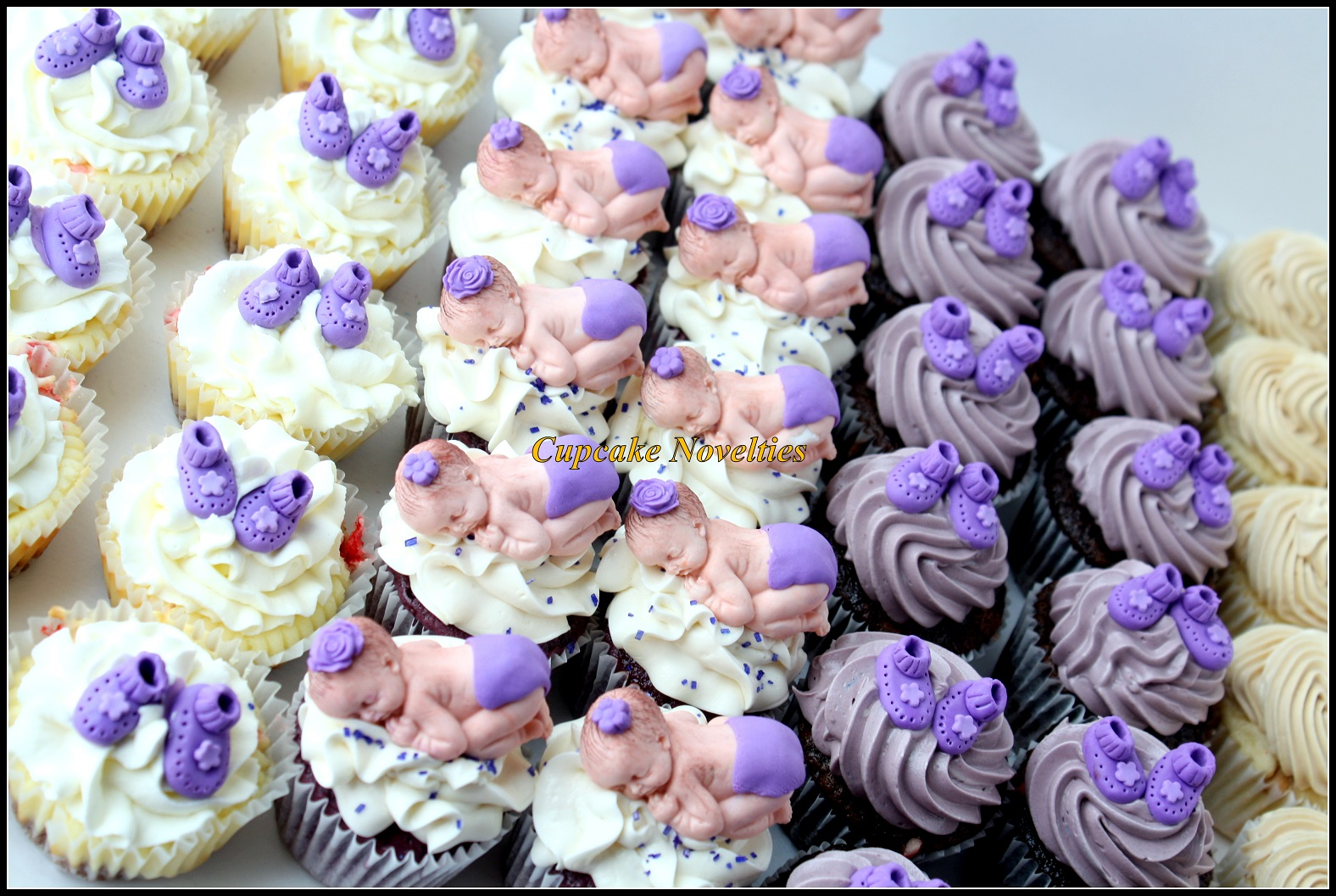 Custom cupcakes for a purple & lavender baby shower