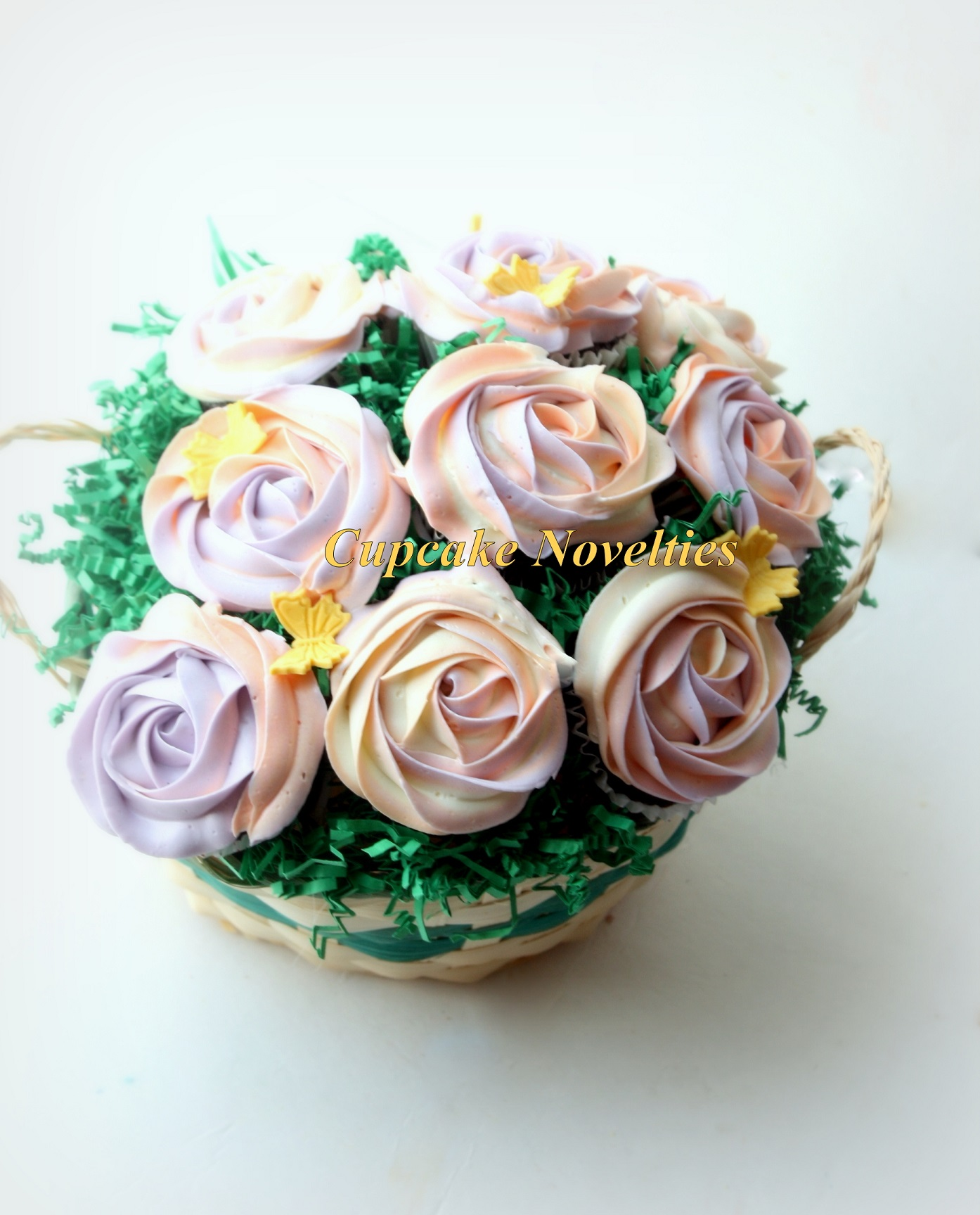 Purple & Peach Cupcake Bouquet