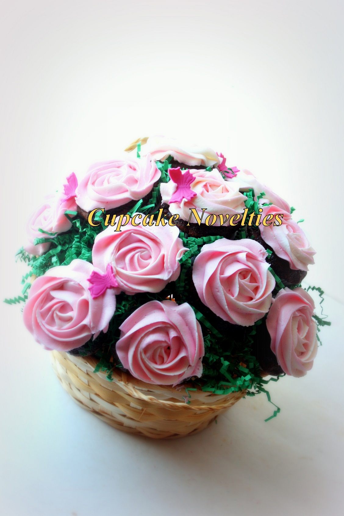 Valentine's Day Cupcake Bouquet with pink buttercream roses